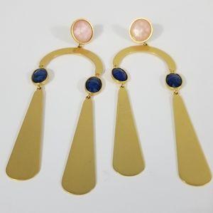 BOHO GOLD LONG EARRINGS FOR PIERCED EARS